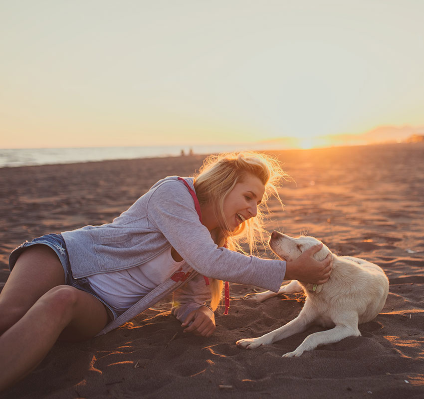 Young-attractive-girl-with-her-pet-dog-at-a-beach,-colorised-image-647344544